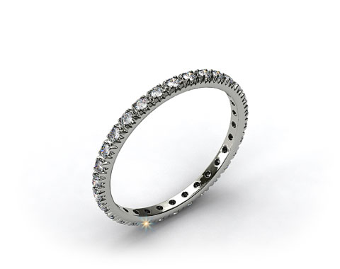 14K White Gold Thin French-Cut Pave Set Diamond Eternity Wedding Ring