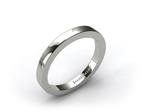 18K White Gold Flat Squared Wire Wedding Ring