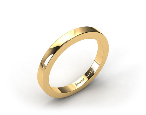 18K Yellow Gold Flat Squared Wire Wedding Ring