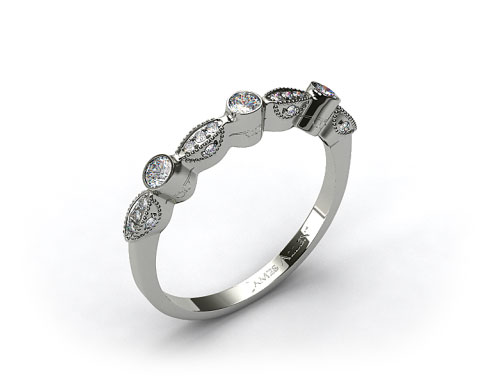 14K White Gold Bezel and Pave Set Diamond Wedding Ring