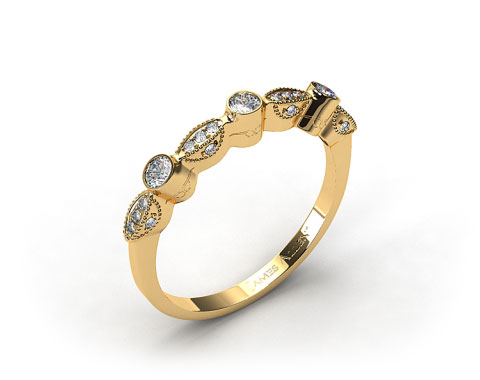 18K Yellow Gold Bezel and Pave Set Diamond Wedding Ring