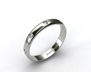 Platinum 3mm Bezel Set Diamond Wedding Ring