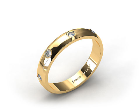 14k Yellow Gold 4mm Bezel Set Diamond Wedding Ring