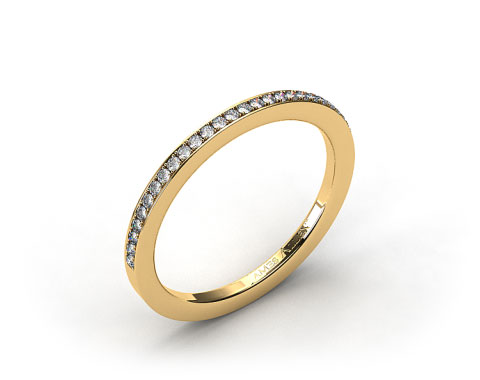 18K Yellow Gold 2mm, 24 stone, 0.19ctw Matching Pave Wedding Band