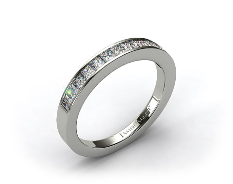 Platinum 0.52ct Channel Set Princess Diamond Wedding Ring