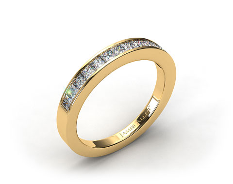 18k Yellow Gold 0.52ct Channel Set Princess Diamond Wedding Ring