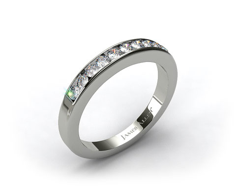 14k White Gold 0.35ct Channel Set Round Diamond Wedding Ring
