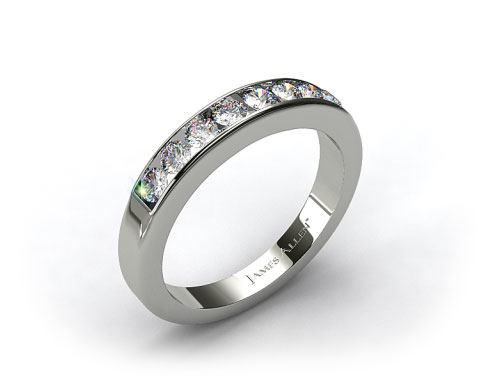 14K White Gold 0.45ct Channel Set Round Diamond Wedding Ring