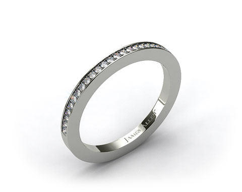 18k White Gold 1.8mm, 27 Stone, 0.19ctw Matching Pave Wedding Band