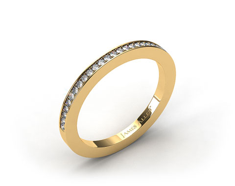 18K Yellow Gold 1.8mm, 27 Stone, 0.19ctw Matching Pave Wedding Band