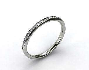14k White Gold 2mm, 24 Stone, 0.16ctw Matching Pave Wedding Band