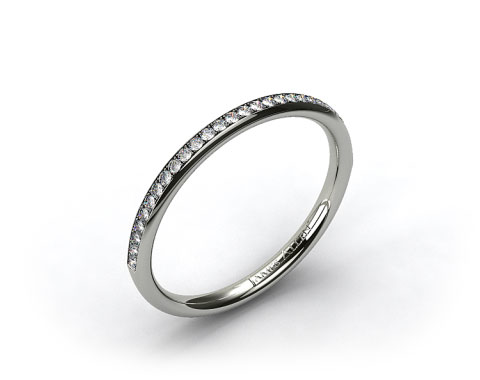 18k White Gold 2mm, 24 Stone, 0.16ctw Matching Pave Wedding Band
