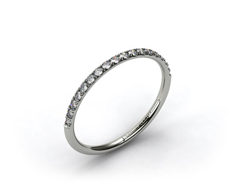 14k White Gold 1.5mm, 23 Stone, 0.16ctw Matching Pave Wedding Band