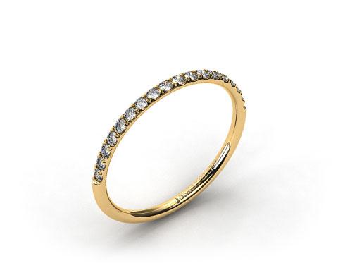 18k Yellow Gold 1.5mm, 23 Stone, 0.16ctw Matching Pave Wedding Band