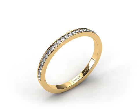 18K Yellow Gold 2mm, 26 Stone, 0.18ctw Matching Pave Wedding Band