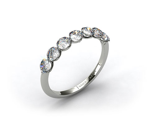 14k White Gold Scalloped Share Prong Wedding Ring