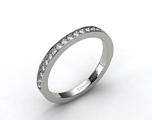18k White Gold 1.8mm Pave Set Wedding Ring