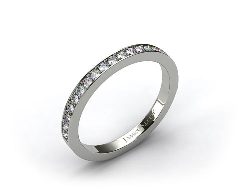 Platinum 1.8mm Pave Set Wedding Ring