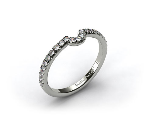 18K White Gold Pave Set Curved Wedding Ring