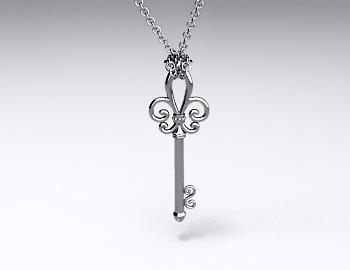Sterling Silver Fleur De Lis Key Pendant