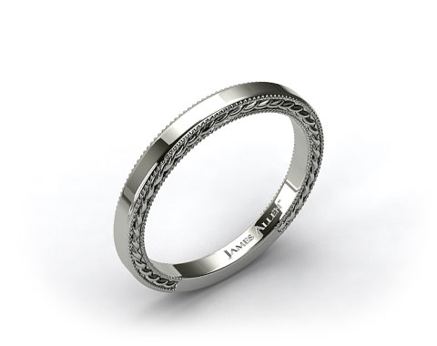 14K White Gold Etched Rope Wedding Band