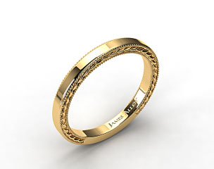 14K Yellow Gold Etched Rope Wedding Band