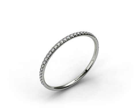 18K White Gold Pave Rounded Wedding Band
