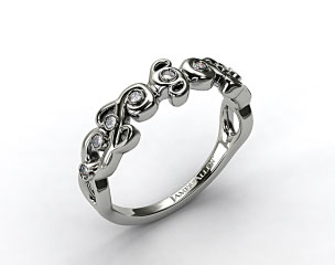18K White Gold Blossoming Vine Diamond Wedding Ring