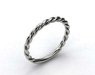 18K White Gold Cable Wedding Band
