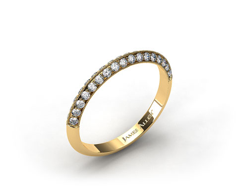 18K Yellow Gold Pave Knife Edge Matching Lotus Band
