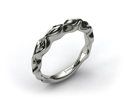 14K White Gold Sculpted Designer Wedding Ring