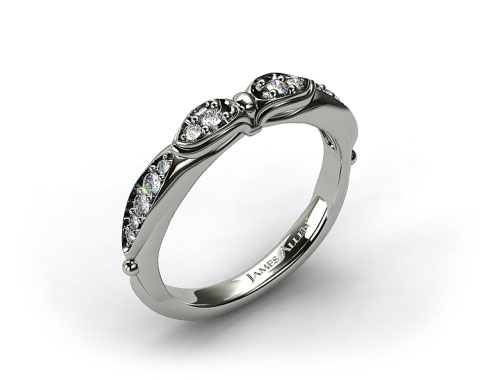 18K White Gold Button and Tied Graduated Pave Wedding Ring