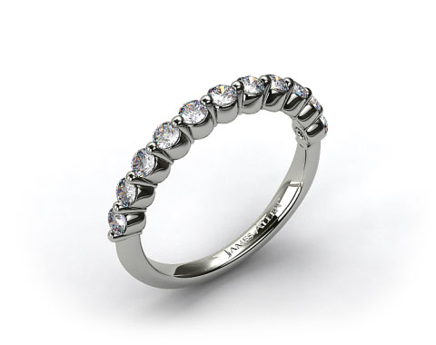 18K White Gold Round Diamond Trio Wedding Ring