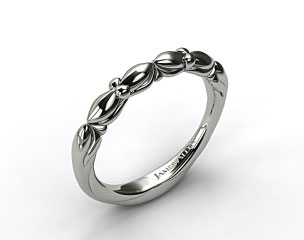 14K White Gold Twisted Four Prong Ribbon Wedding Ring