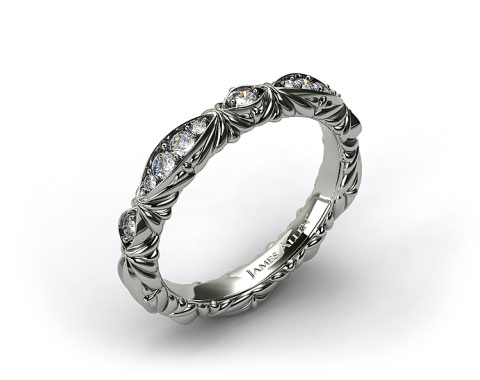 14k White Gold Pave Cascading Wedding Band