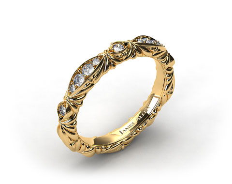 18k Yellow Gold Pave Cascading Wedding Band