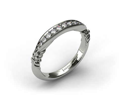 18k White Gold Pave Graduated Wedding Band