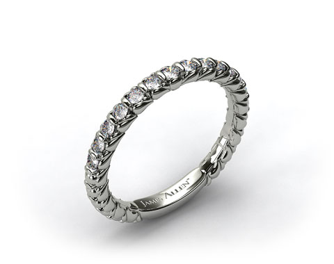 14k White Gold Single Bar Set Wedding Band
