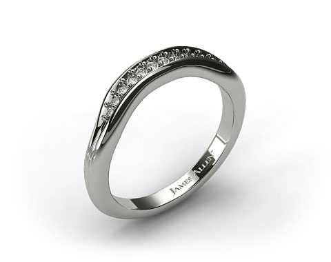 18k White Gold Pave Diamond Ribbed Wedding Band