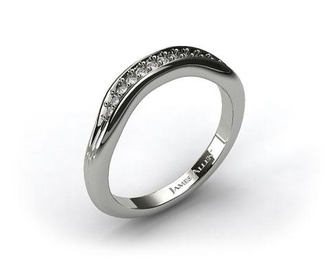 14K White Gold Pave Diamond Ribbed Wedding Band