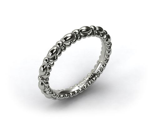 Platinum Crescent Ribbon Wedding Band