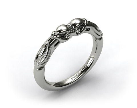 18k White Gold Wrapped Hearts Bombay Wedding Band