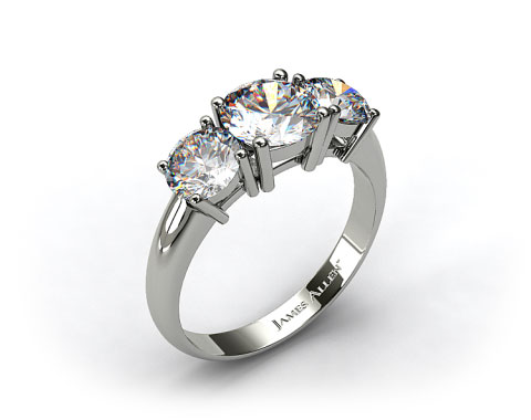 14K White Gold 1.00 Carat Total Weight Three Stone Diamond Engagement Ring