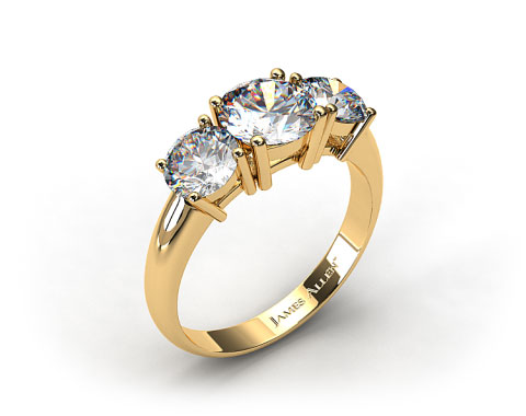 18K Yellow Gold 1.00 Carat Total Weight Three Stone Diamond Engagement Ring