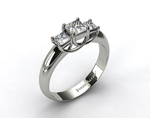 Platinum 0.50 Carat Total Weight Three Stone Princess Shaped Engagement Ring
