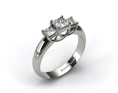 14K White Gold 0.50-Carat Total Weight Three Stone Princess Shaped Engagement Ring