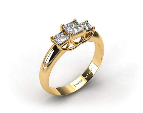18K Yellow Gold 0.50 Carat Total Weight Three Stone Princess Shaped Engagement Ring