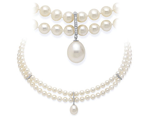 14k White Gold Two Strand Pearl & Diamond Enhancer Necklace