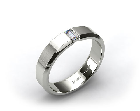 14k White Gold 7mm Mens Diamond Wedding Ring