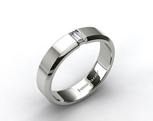 Platinum 7mm Baguette Diamond Men's Wedding Band